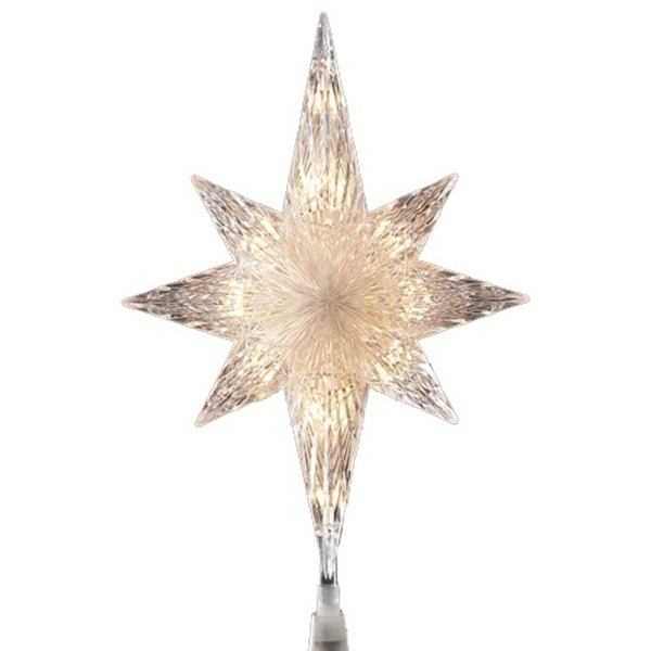 "11"" Lighted Clear Crystal Star of Bethlehem Christmas Tree Topper - Clear Lights"