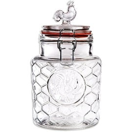 "Palais 'Rooster' High Quality Clear Glass Canister with Bail & Trigger Locking Lids (24 Oz - 7"" High)"