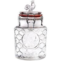 """Palais 'Rooster' High Quality Clear Glass Canister with Bail & Trigger Locking Lids (24 Oz - 7"""" High)"""