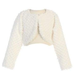 Lito Little Girls Ivory Long Sleeve Single Button Faux Fur Bolero 2T-5