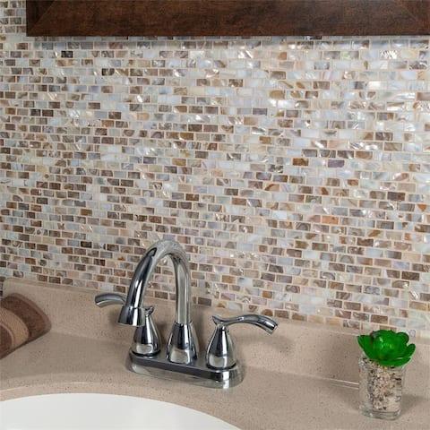 SomerTile 11.75x11.75-inch Seashell Subway Perla Natural Seashell Mosaic Wall Tile