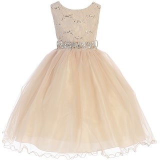 Flower Girl Dress Glitter Sequin Top & Rhinestone Sash Taupe JK 3670
