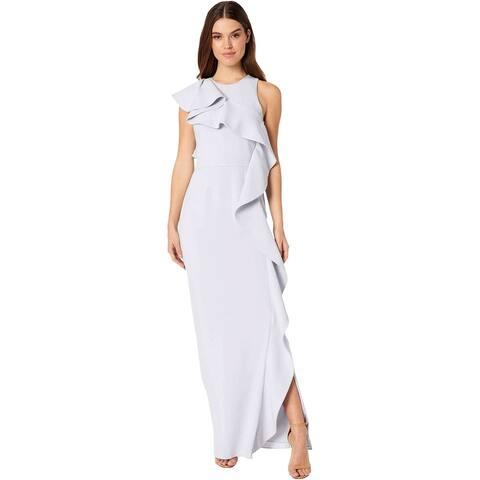 Halston Womens Flounce Crepe Sleeveless Column Gown 10 Slate Grey