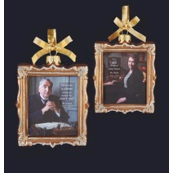 """4"""" Downton Abbey Gold Glass Mr. Carson and Mrs Hughes Picture Frame Christmas Ornament"""