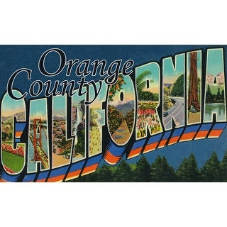 Greetings from Orange County, California - Vintage Halftone (Cotton/Polyester Chef's Apron)