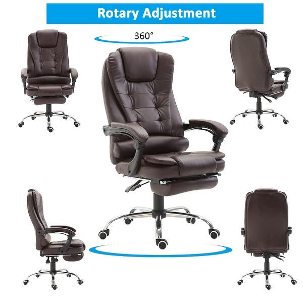 Shop Homcom Reclining Pu Leather Executive Home Office Chair With Comfortable Faux Leather Extendable Footrest Brown Overstock 22465425