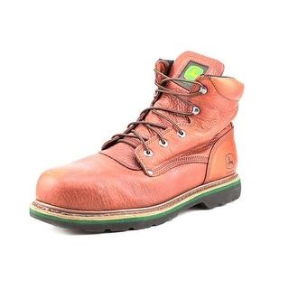 John Deere JD6393 Men W Round Toe Leather Brown Boot