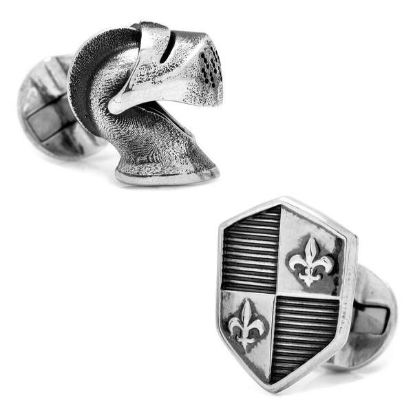 Sterling Silver Knight Helmet and Shield Cufflinks