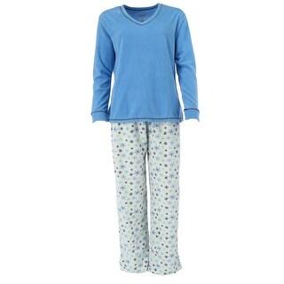Hanes Women's V Neck Top and Polar Fleece Pajama Set