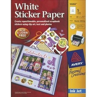 """Ink Jet Sticker Paper W/CD 8.5""""X11""""-Matte White 5/Pkg"""