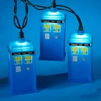 Set of 10 Doctor Who Blue Tardis Christmas Lights - Green Wire