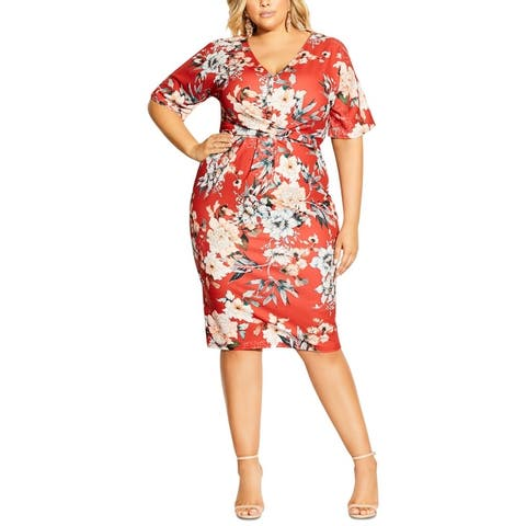 City Chic Womens Plus Sheath Dress Knot Front Printed - Floral Seduction