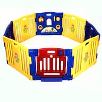 Costway Baby Playpen Kids 8 Panel Safety Play Center Yard Home Indoor Outdoor Pen - Yellow