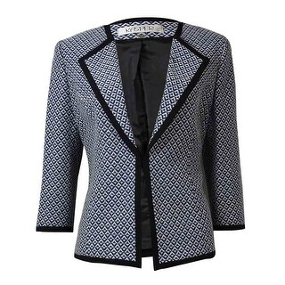 Kasper Women's Lapel Geometric Print Textured Blazer - electric blue multi - 6P