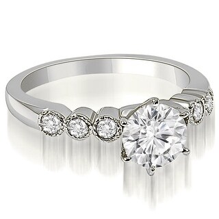 1.20 CT.TW Vintage Style Milgrain Round Diamond Engagement Ring - White H-I