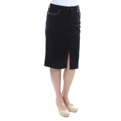EARL JEAN Womens Black Slitted Faux Leather Trim,denim Below The Knee Pencil Skirt Size: 6