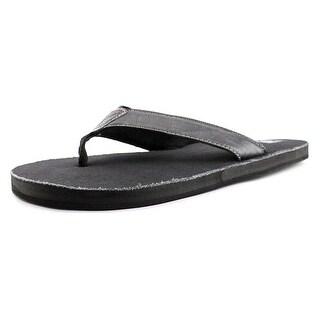 29 Porter Rd Xavier Men Open Toe Leather Black Thong Sandal