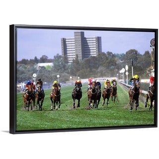 """""""Horses in the Great Western HCP race, Melbourne Cup Carnival, Victoria, Australia"""" Black Float Frame Canvas Art"""