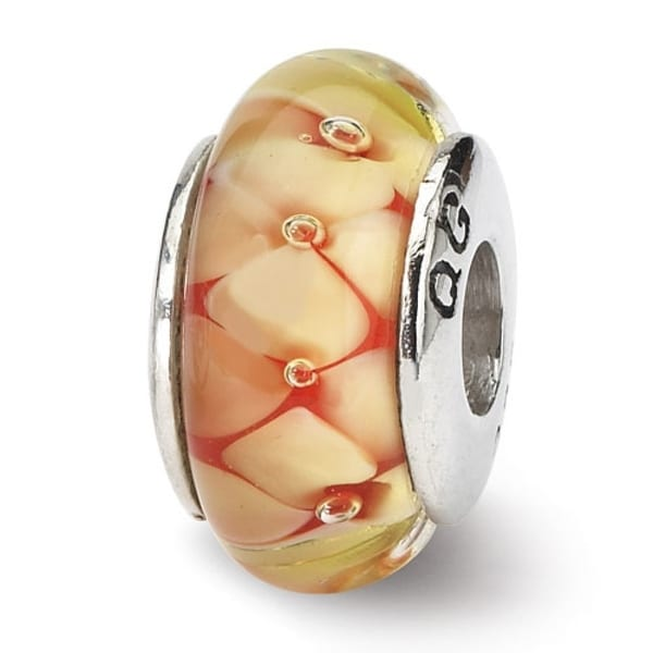 Sterling Silver Reflections Yellow Floral Hand-blown Glass Bead (4mm Diameter Hole)