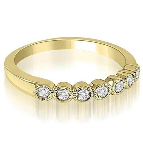 0.21 cttw. 14K Yellow Gold Antique Milgrain Bezel Round Cut Diamond Wedding Ring