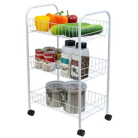 Multi-Purpose Rolling Metal Kitchen Trolley, White