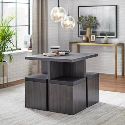 Simple Living Baxter Dining Set with Storage Ottomans
