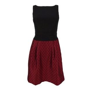 American Living Women's V-Back Sleeveless Dress - Red/black
