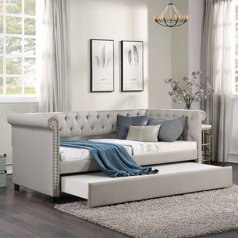 Twin Daybed with Trundle-Nailhead Trim upholster Tufted Sofa Bed, Gray