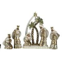 "6-Piece Inspirational Metallic Religious Christmas Nativity Figure Set 10.25"""