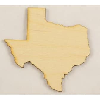 """Package Of 10, Small 5.5"""" X 5.4"""" X 1/8"""" Thick Texas State Cutout"""