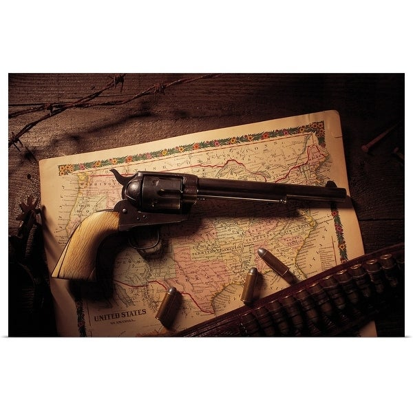 """""""Vintage revolver with bullets and map"""" Poster Print"""