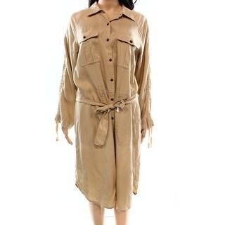 Lauren Ralph Lauren NEW Beige Women's Size 12 Belted Shirt Dress