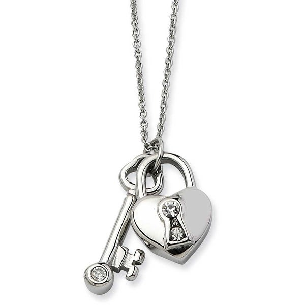 Chisel Stainless Steel Heart Lock & Key with CZs Pendant 17 with 2 Inch Extension Necklace (1 mm) - 17 in