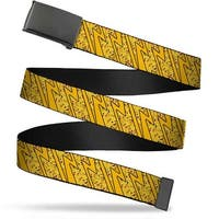 Blank Black  Buckle Pikachu Poses Stacked Rays Yellows Webbing Web Belt