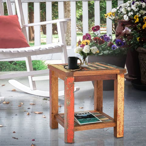 Chic Teak Marina Del Rey Recycled Teak Wood Boat Side Table