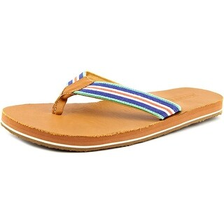 Smathers & Branson Surfer Stripe Men Open Toe Canvas Blue Flip Flop Sandal