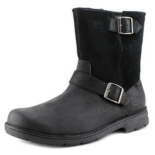 Ugg Australia Messner Men 3E Round Toe Leather Black Ankle Boot
