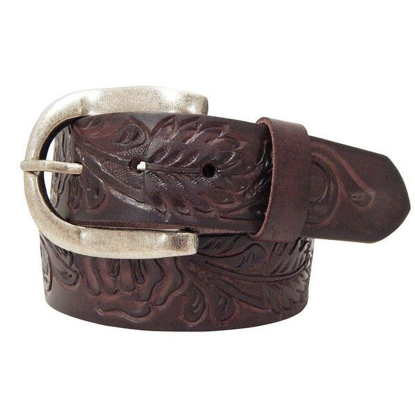 Roper Western Belt Womens Hand Tooled Leaf Pattern Buckle