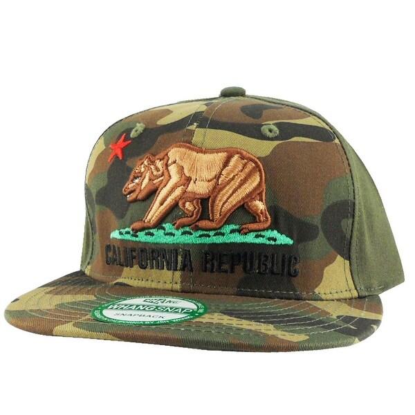 California Republic Bear Logo Snapback Hat Cap - Green Half Camo - multi-color