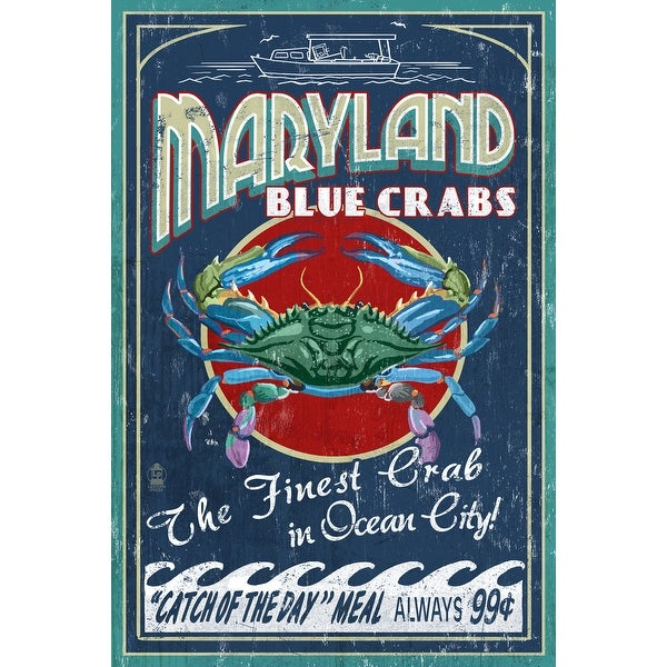 Ocean City MD Blue Crabs Vintage Sign - LP Artwork (100% Cotton Towel Absorbent)