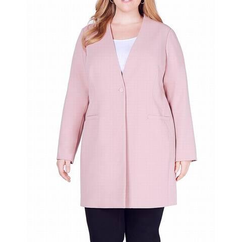 Alfani Womens Duster Jacket Mauve Pink Size 22W Plus Single Button