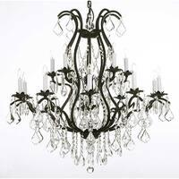 Swarovski Elements Crystal Trimmed Wrought Iron Chandelier Lighting