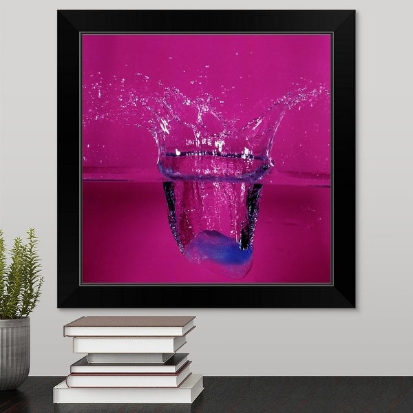 """""""ice-cube dropping in water"""" Black Framed Print"""