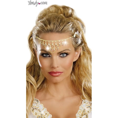 Shimmering Rhinestone Crown - Gold - One Size Fits Most