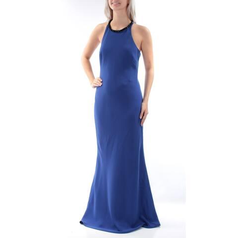 CALVIN KLEIN Blue Sleeveless Full-Length Sheath Dress Size 4