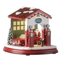 """Set of 2 Musical LED Ford Garage with Santa Elf and 1964 Mustang Figurine 7"""" - Red"""
