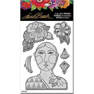 """Stampendous Laurel Burch Cling Stamp W/ Template 9""""X5.25""""-Blossoming Woman"""
