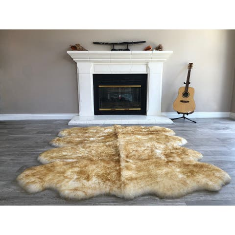 "Dynasty Natural 8-Pelt Luxury Long Wool Sheepskin White with Brown Tips Shag Rug - 5'5"" x 6'8"""