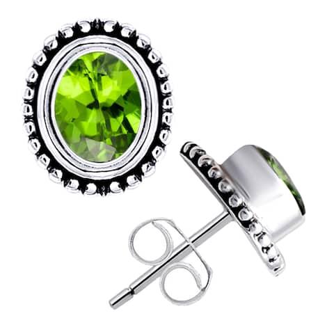 Peridot,Amethyst,Howlite,Topaz,Citrine, Ruby Sterling Silver Oval Stud Earrings by Orchid Jewelry