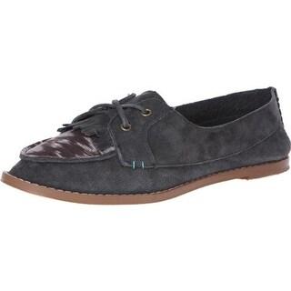 Reef Womens Etherea Suede Fringe Loafers - 7 medium (b,m)